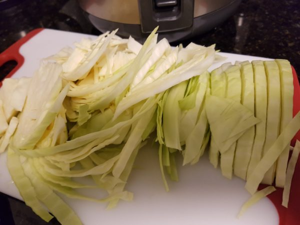 cabbage julienne style cut