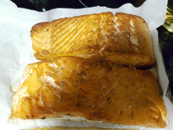 Pan Seared Salmon on a Lodge Cast Iron Pan