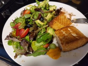 Summer Mixed Green Salad with Grilled Salmon