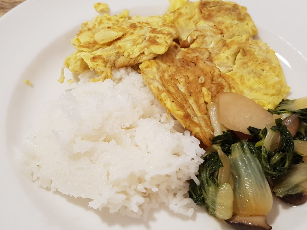 Fried Eggs with Enoki Mushroom served with rice and bok choy