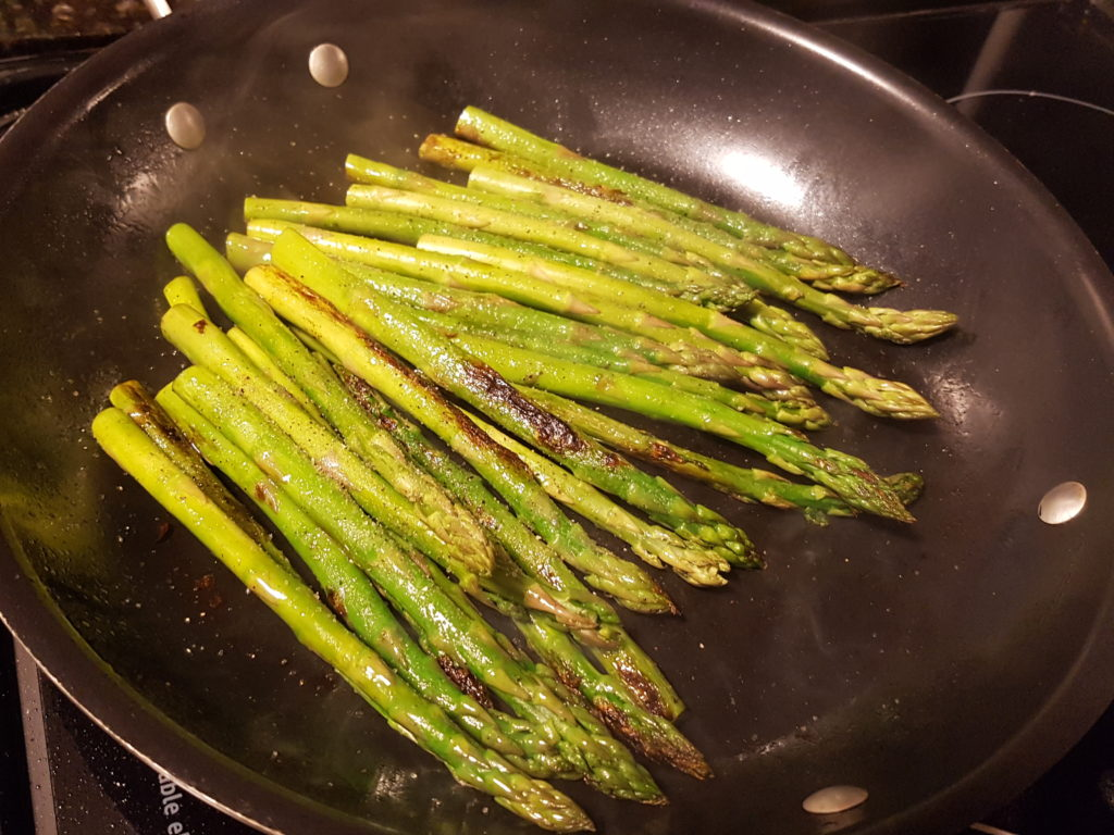 Fried Asparagus in a Non-Stick Pan
