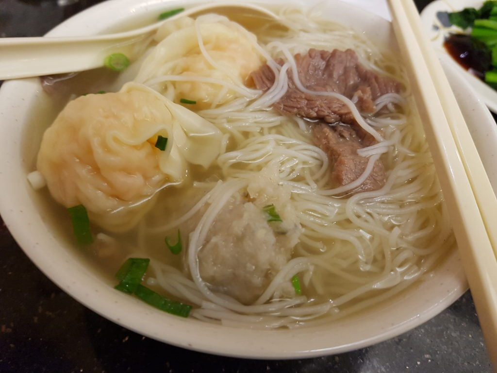 Jim Chai Kee Signature Noodles with Vermicelli noodles (Wonton, Beef and Fishball)