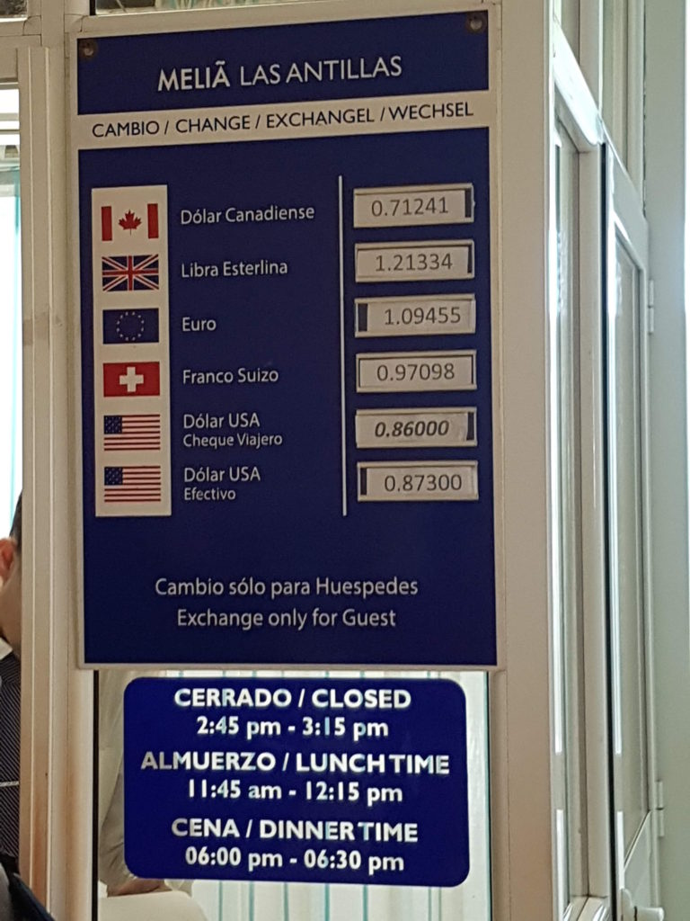 Currency Exchange in Cuba in Melia Las Antillas