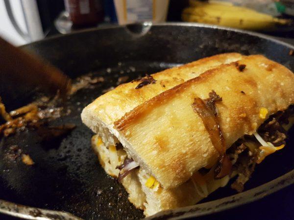 Assemble the Cheese Steak Sandwich