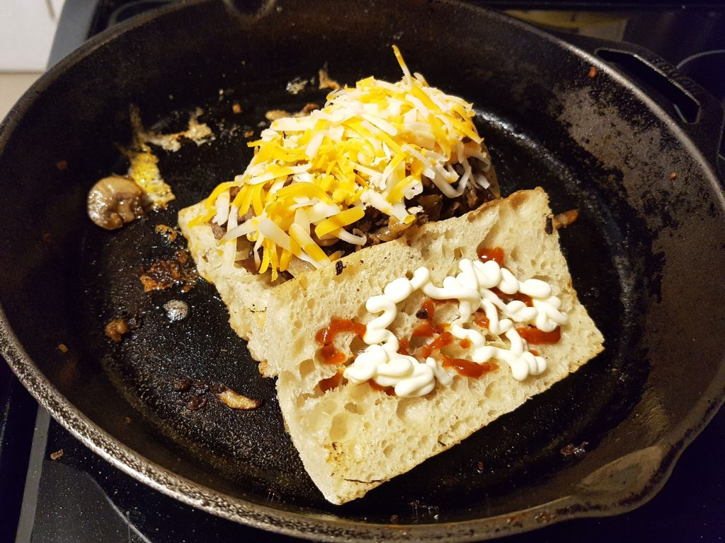 Top the Steak with Shredded Marble Chedar Cheese
