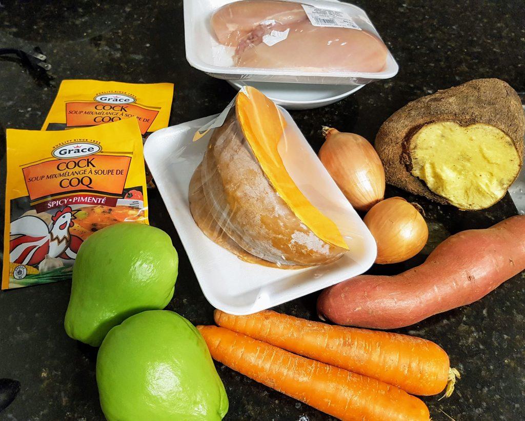 Ingredients for Jamaican Pumpkin Soup