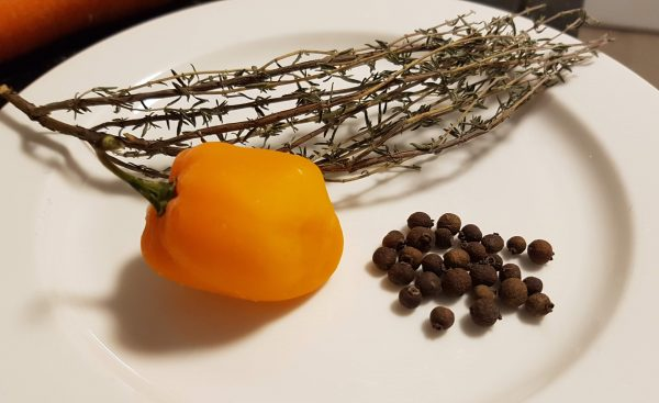 The Secret Ingredient to his Hearty and Savory Pumpkin Soup - Scotch Bonnet, Dry Thyme and Pimentos