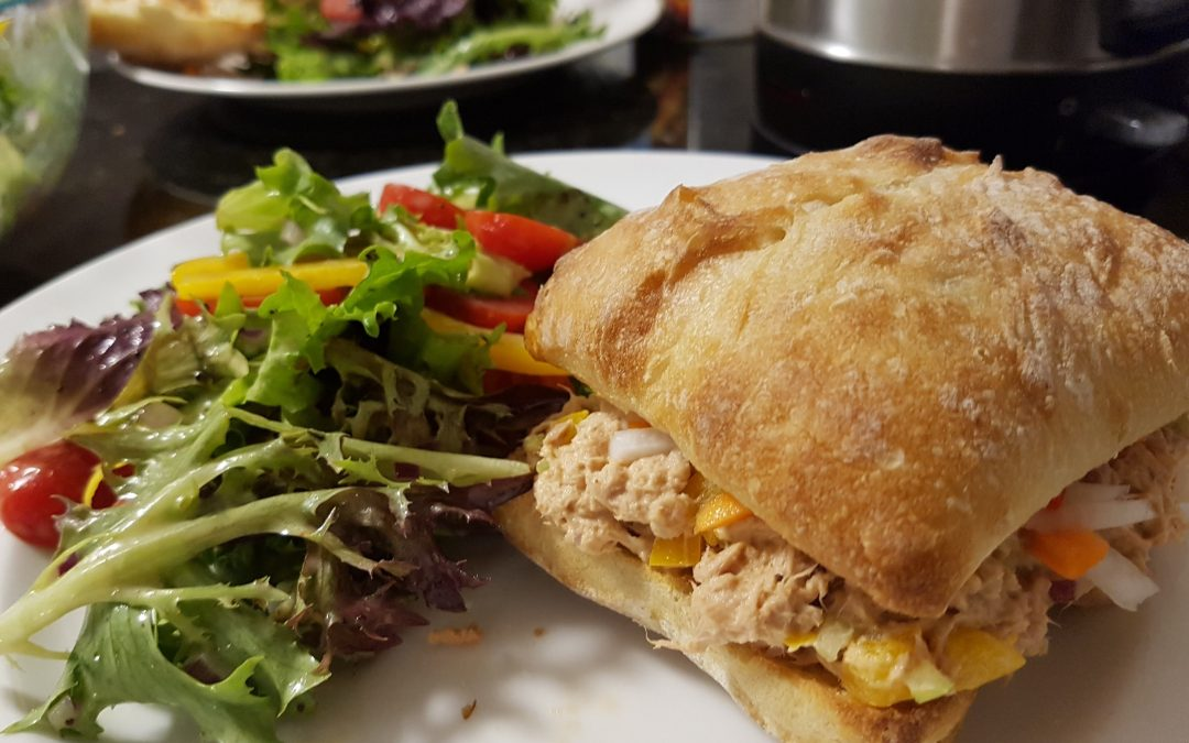 Tuna with Pickled Daikon and Carrots Ciabata Sandwich