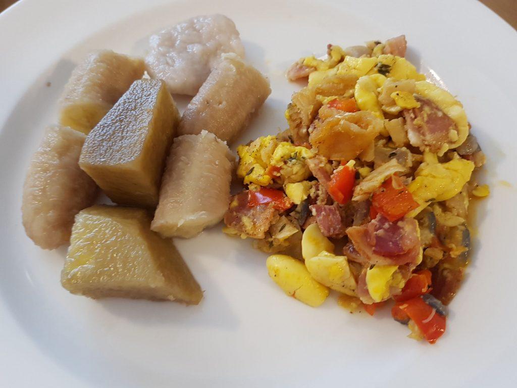 Ackee and Saltfish with Boiled Yam, Banana and Dumpling