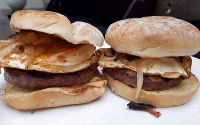 Caramelized Onions Fried Egg Burger