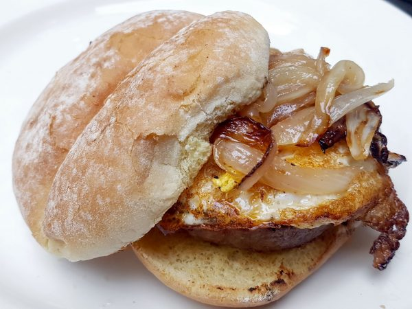 Fried Egg Burger with Caramelized Onion