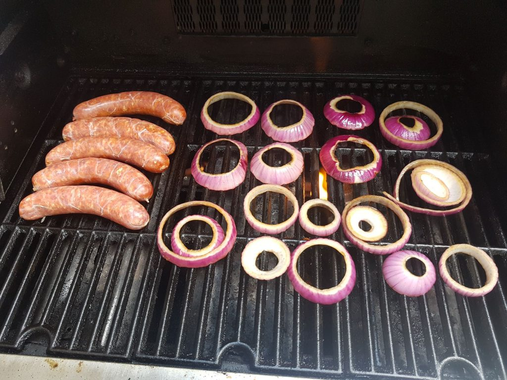 Grill Sausages and Red Onion
