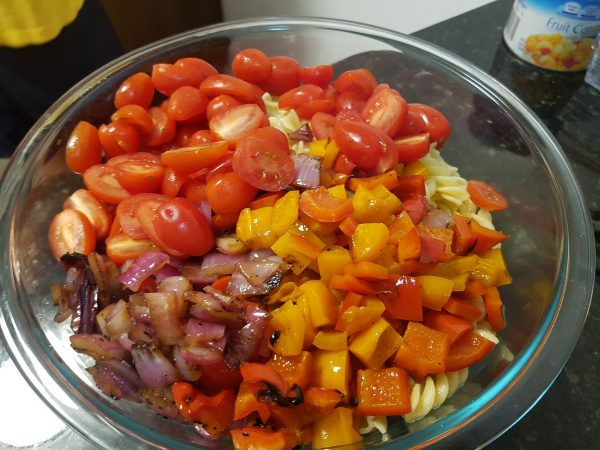 Grilled Vegetables, Tomatoes on Rotini Pasta