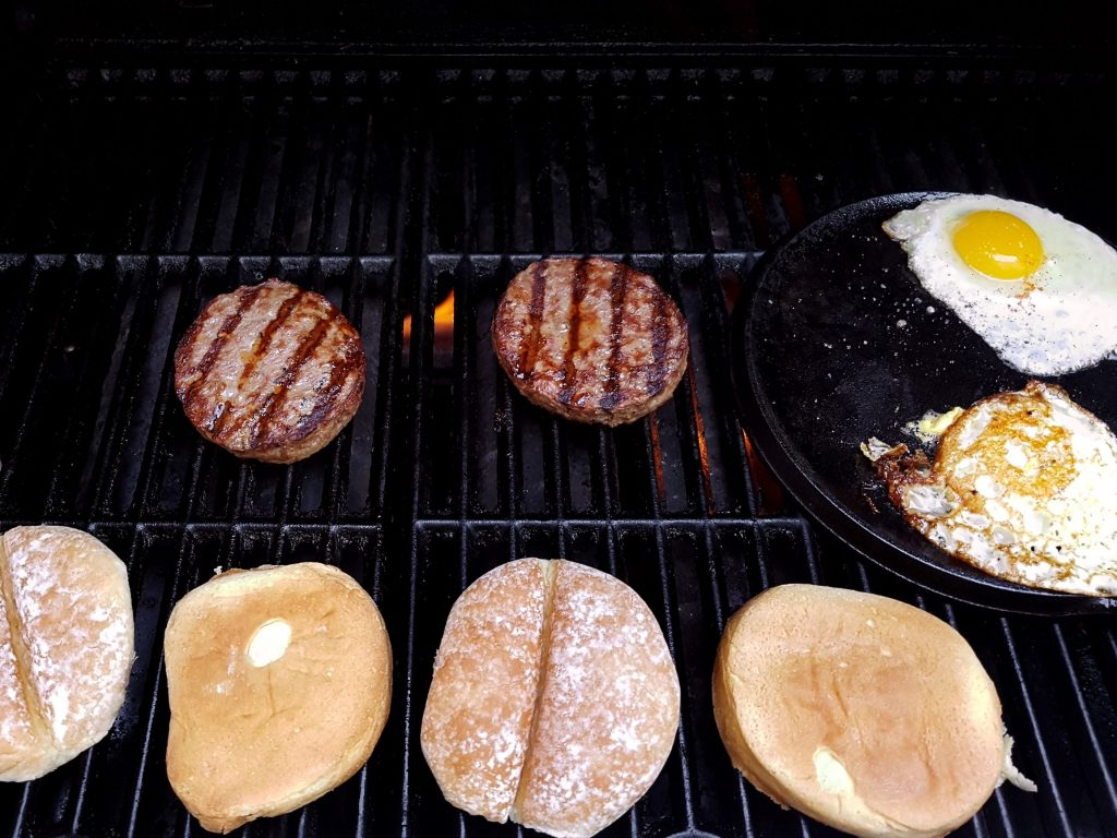 BBQ- Burger Patties, Fried Eggs and Buns
