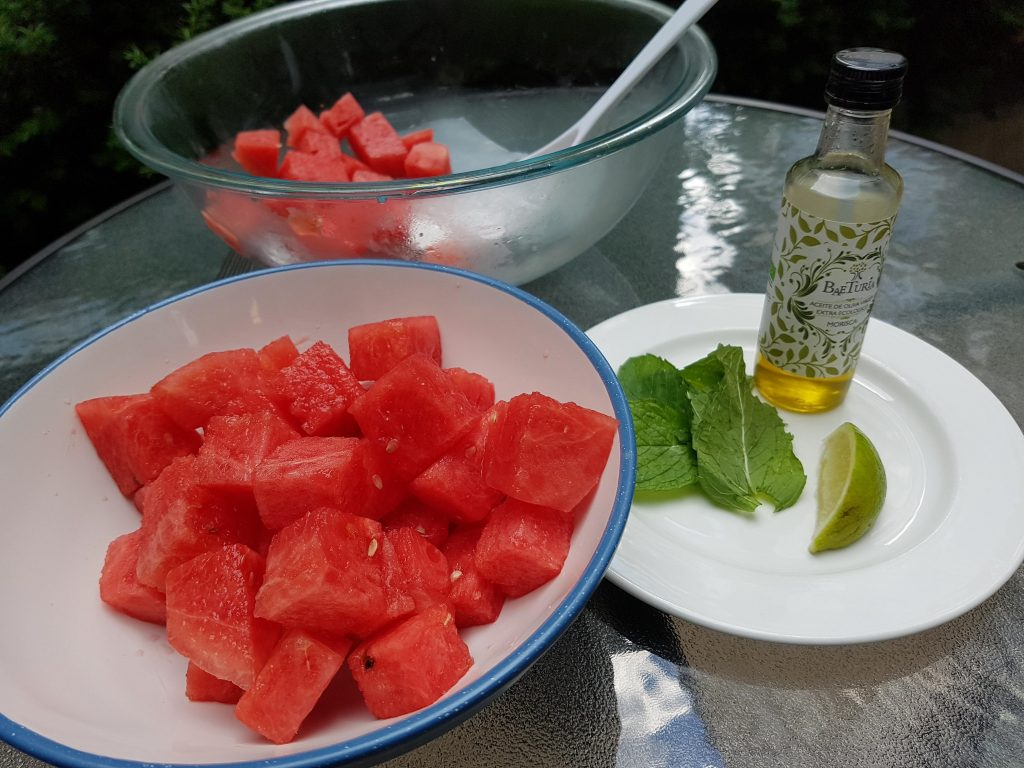 Watermelon, Olive Oil, Lime and Mint for Refreshing Watermelon Salad Recipe