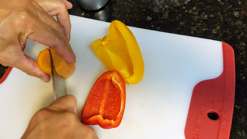 Red/Yellow Peppers and Carrots for the Fricasseed Chicken