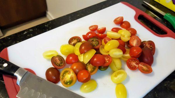 Cut the Grape Tomatoes in Half