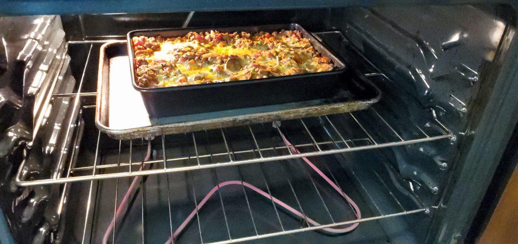 Bake lasagna at 375F for 45 mins