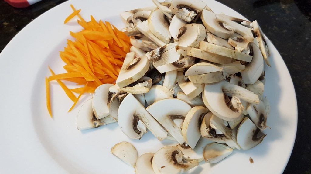 Sliced Mushrooms and Carrot (Julienne)