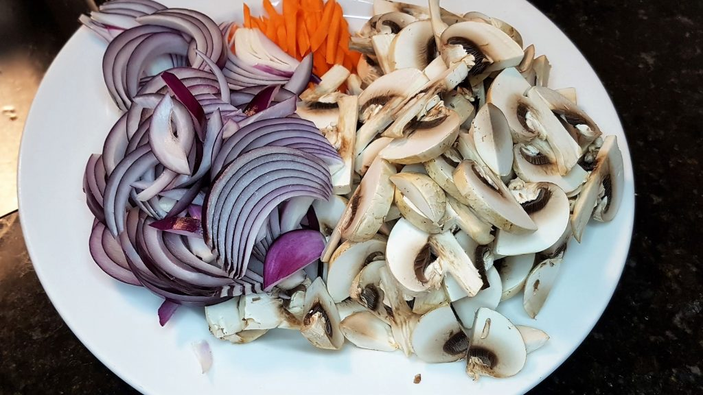 Red Onion, Mushrooms and carrot