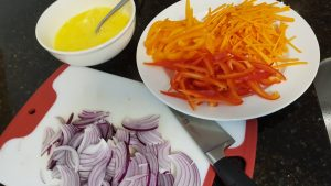 Julienne the Red Onion, Peppers and Carrot