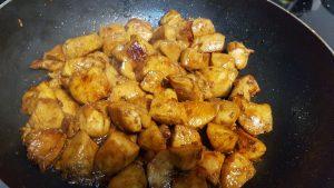 Yummy Japchae Recipe: Stir-Fry chicken in a pan until golden brown