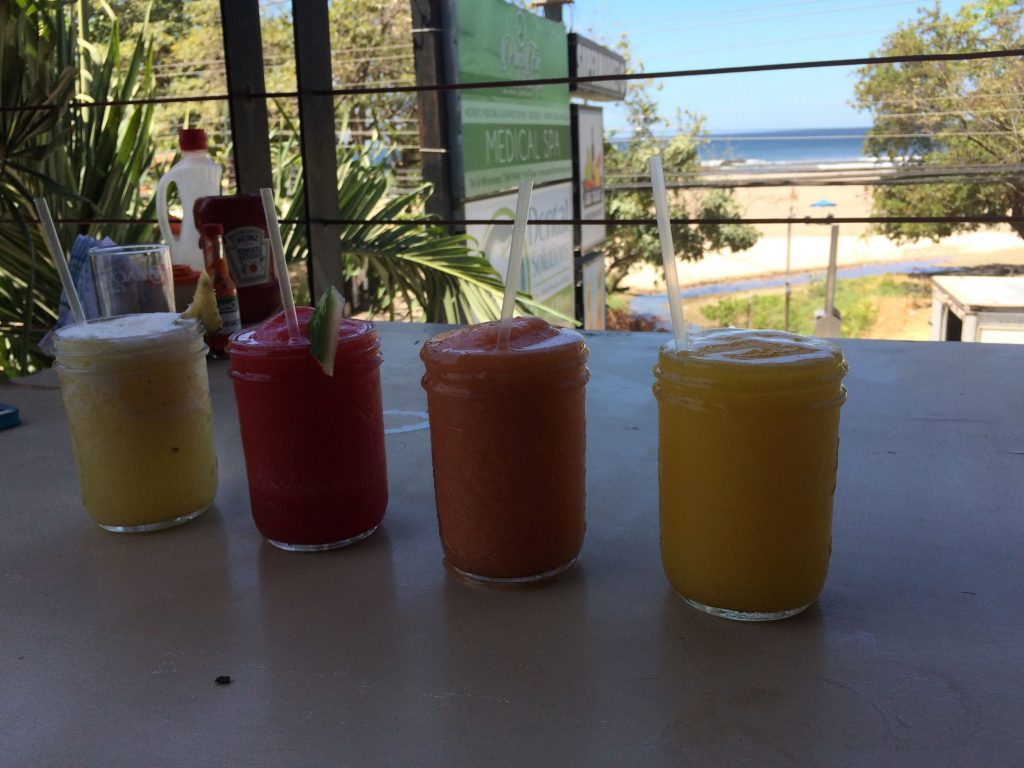 My fruit smoothies in Tamarindo, Costa Rica